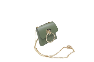 Khaki Faux Leather (PU) Belt Bag with Chain Strap and Ring Detail