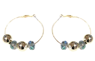Gold Crystal And Ball Hoop Earring