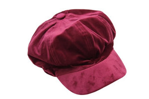 Wine Velvet Baker Boy Hat