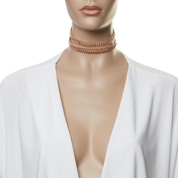 Double Leaf Metal Chain Choker