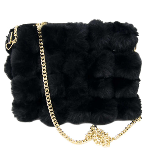 Black Faux Fur Squared look Bag with Chain Strap