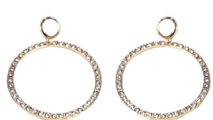 Gold Oversized Diamante Hoop Earrings