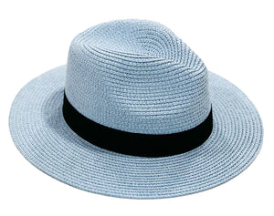 Light Blue Straw Fedora with Poly Band