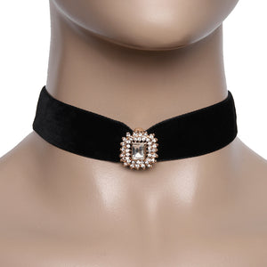Velvet Choker with Diamante Embellished Detailed Pendant