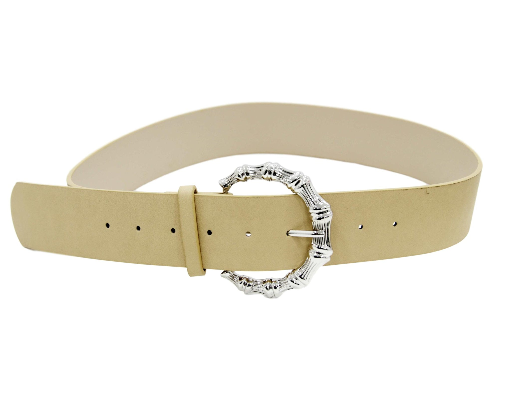 Pu belt with metal bamboo buckle