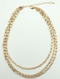 3 Layer Rectangle Link Chain Necklace