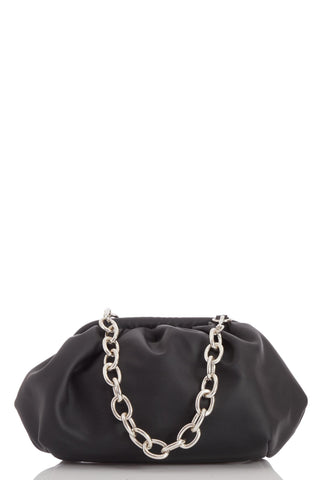 Gathered PU Bag with Chunky Chain Strap