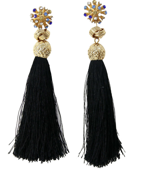 Black Flower And Knot Tassel Earrings