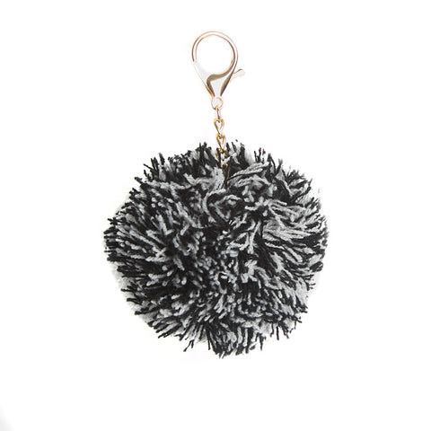 Black Knitted Pom Pom Key Ring