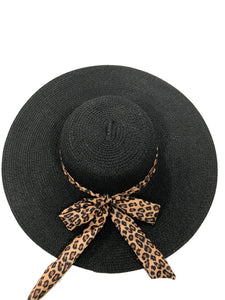 Black Straw Floppy Hat with Leopard Print Tie Bow Band