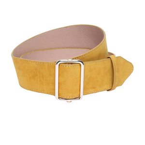 Mustard Velvet Jean Belt With Square Buckle