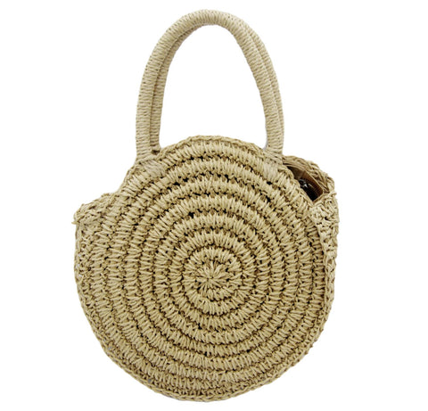 Tan Circle Straw Bag