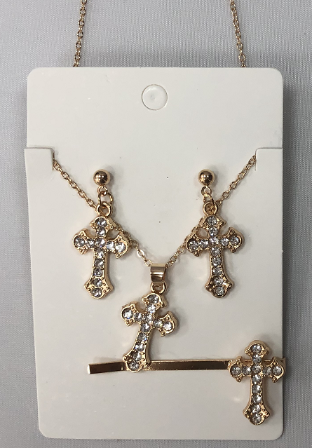 Gold Jewellery Set With Cross