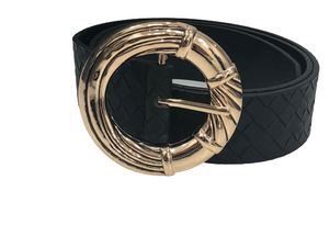 Gold Black Circle Bamboo Buckle Weave PU