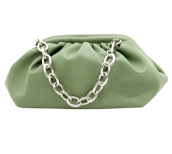 Light Khaki Gathered PU Bag with Chunky Chain Strap