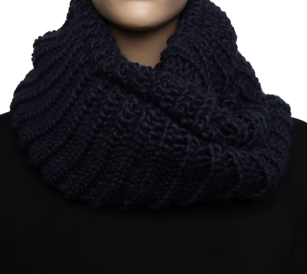 Navy Blue Ribbed Knitted Snood