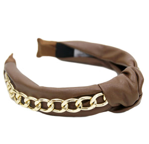 Tan PU Chain Headband