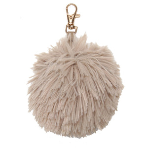 Brown Knitted Pom Keyring