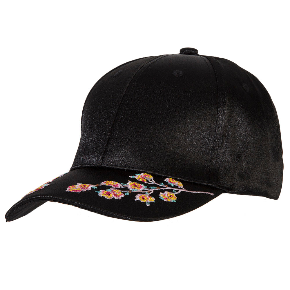 Black Silk Embroidered Floral Cap