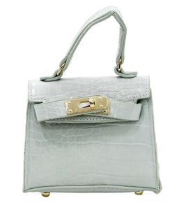 Mint Croc Mini Bag with Chain