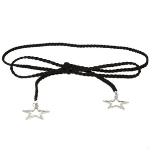 Black Tie Up Suede Belt w/ Diamante Embellished Stars