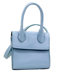 Blue Mini Bag With Pu Handles And Strap