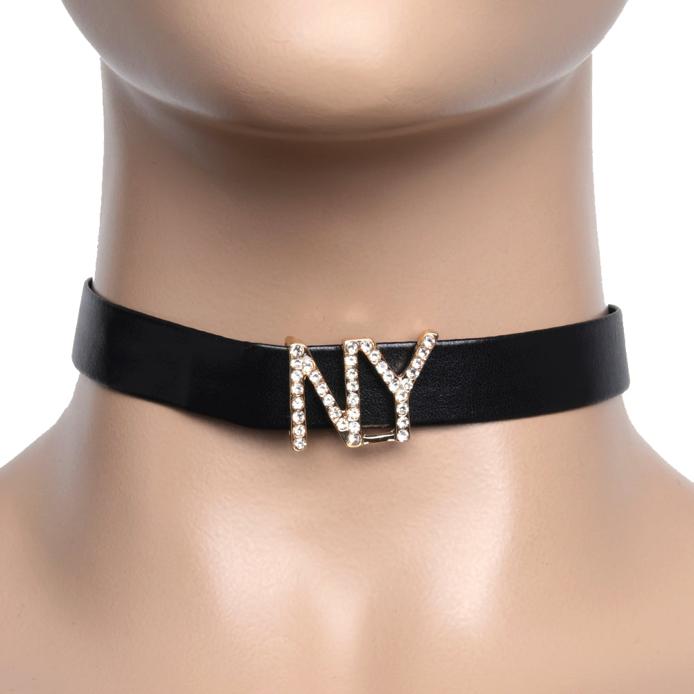 Black Faux Leather Choker with Diamante NY Letters