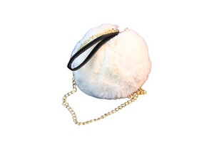 Cream Mini Faux Fur Circle Bag with Pu Strap