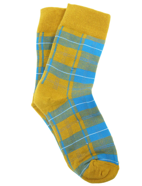 Mustard Tartan Print Fashion Socks
