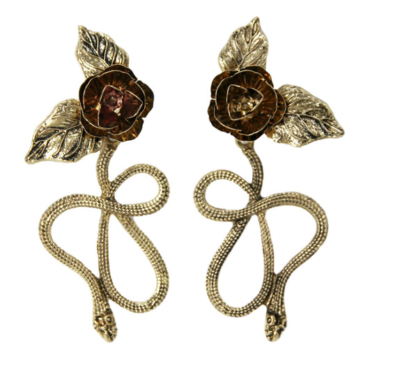 Antique Gold Snake Rose Earrings