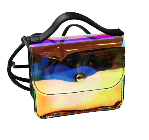 Holo Plastic Crossbody Bag with PU Strap