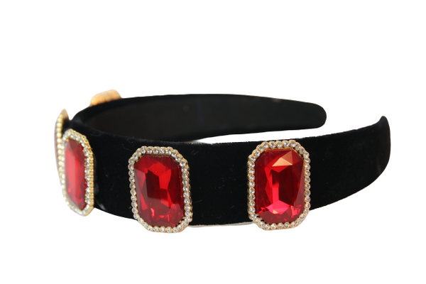 Red Velvet octagon Big Stone Diamond Headband