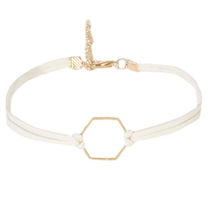 Cream Suede Double Band Choker with Hexagon Charm
