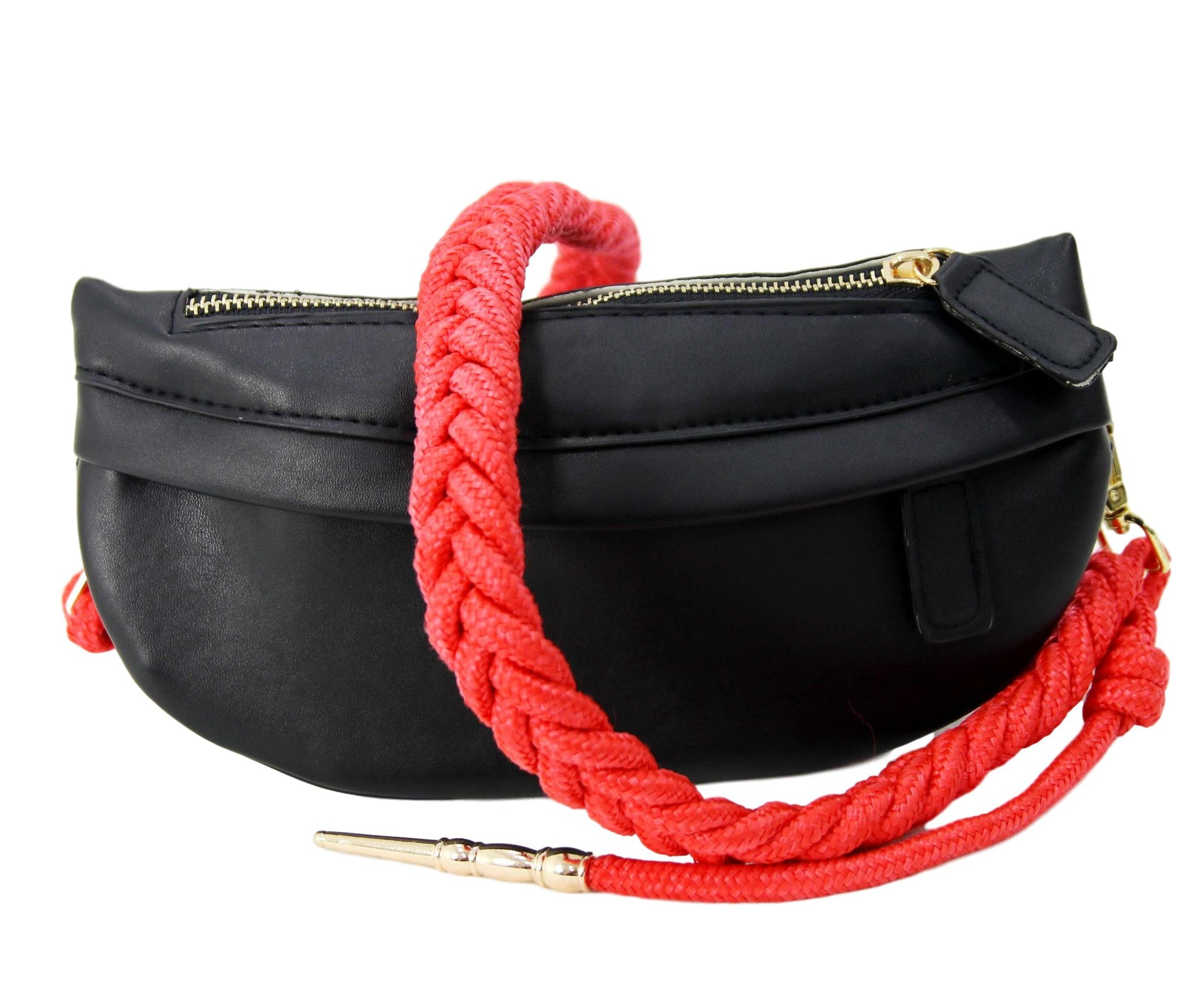 Red Faux Leather (PU) Bum Bag with Rope Strap
