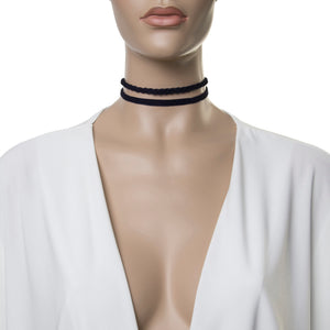 Black 1.5cm Double Suede Choker with One Plaited Choker