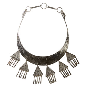 Silver Aztec Style Necklace with Embossed Design