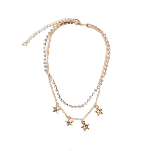 Gold Double Choker with Star Charms and Diamante