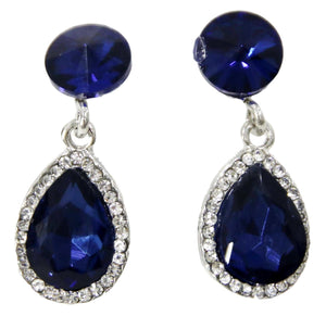Navy Stone and diamante drop earrings