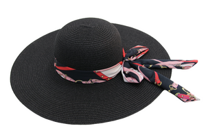 Straw Floppy Hat With Chain Print Tie Bow Band