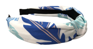 Light Blue Palm Leaf Print Knot Headband