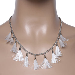 White Multi tassel necklace
