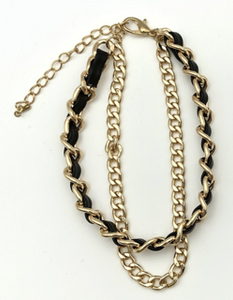 Black Gold, Faux Leather and Chain Layered Bracelet