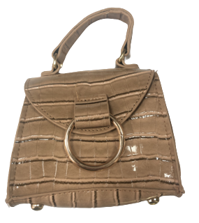 Nude PU Croc Bag With D Ring