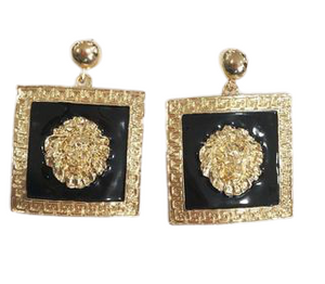 Gold Lion Face Square Earrings