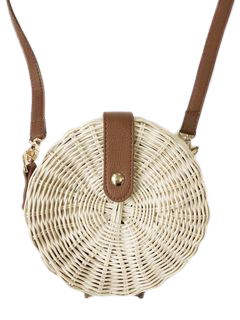 Cream Medium Wicker Round Crossbody
