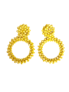 Yellow Bead Cluster Hoop Drop Earring
