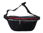Black Nylon Stripe Bum Bag
