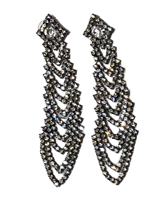 Grey Long Drop Diamante Earrings