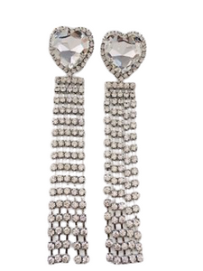 Silver Heart Diamante Statement Earrings