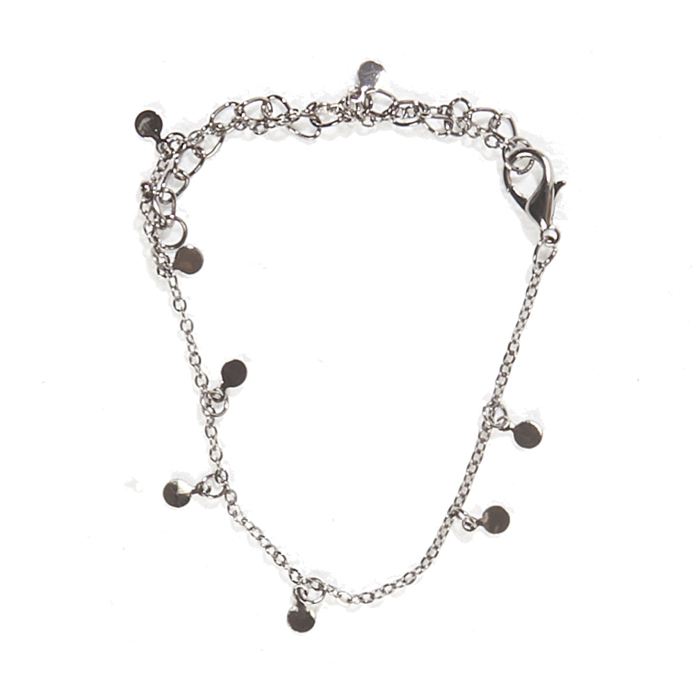Grey Metal Delicate Circle Chain Anklet
